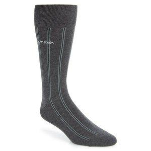 Calvin Klein Mens One Size Gray Striped Crew Socks